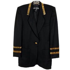 Vintage Escada Black Wool Gold Bead Blazer Sz 34